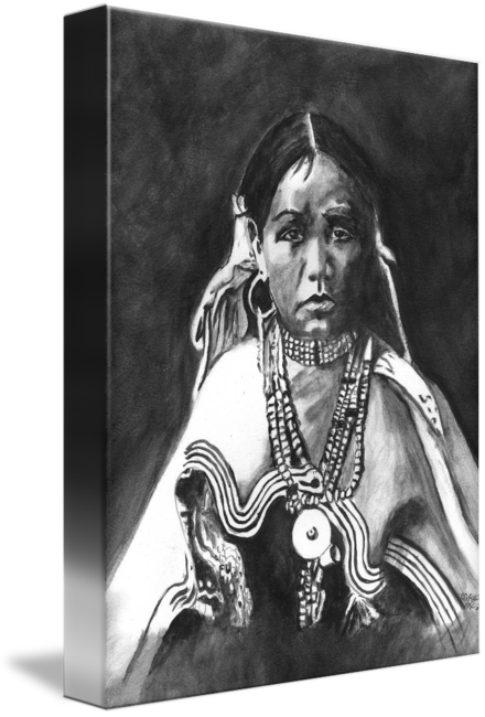 Apache drawing portrait. Native american indian maiden