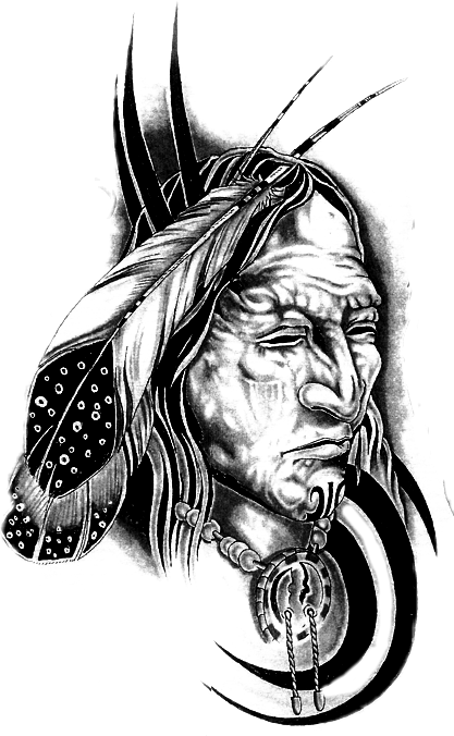 Apache drawing tattoo. Indian sticker by milo