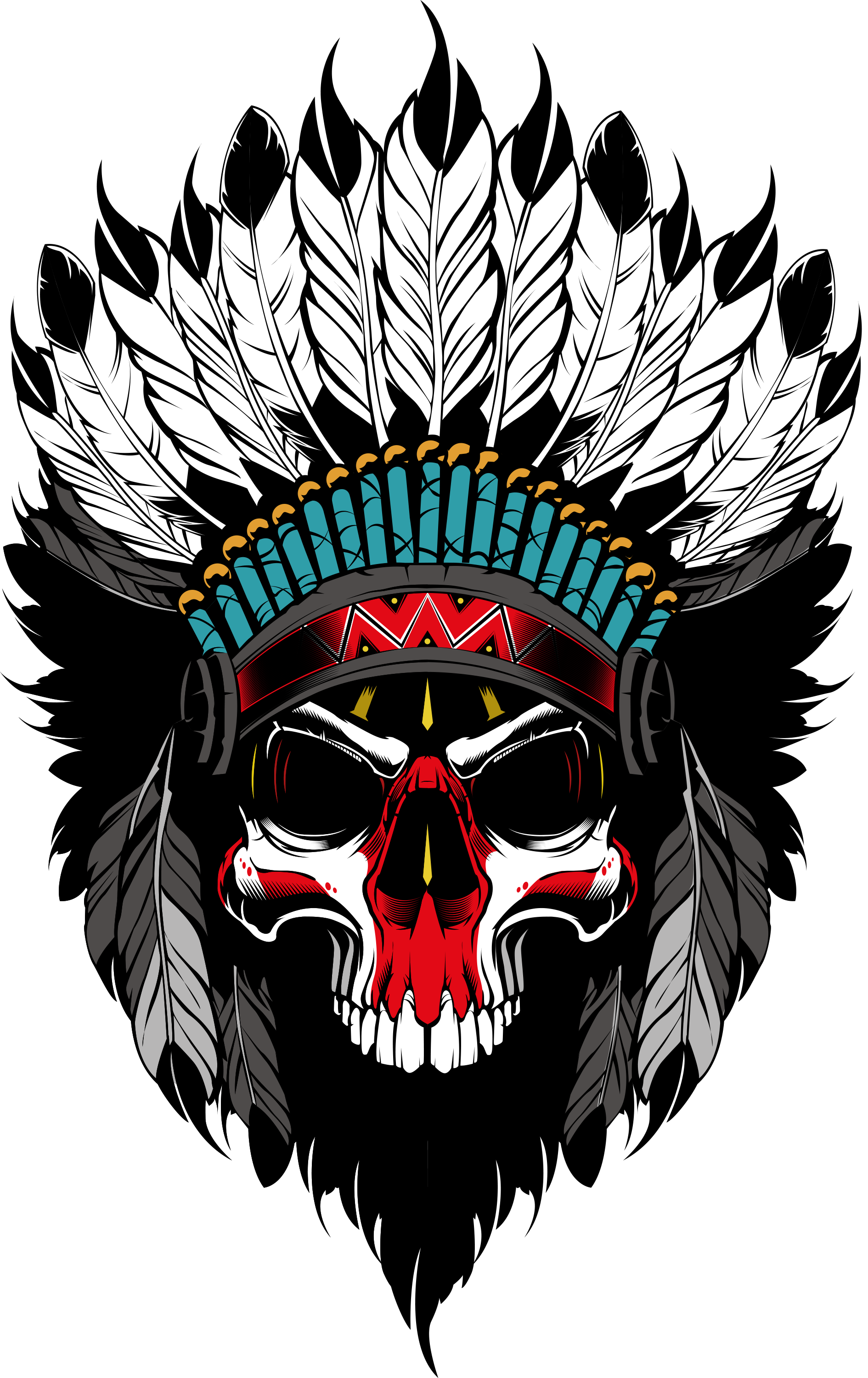 Apache drawing tattoo. Indian s skull dessin