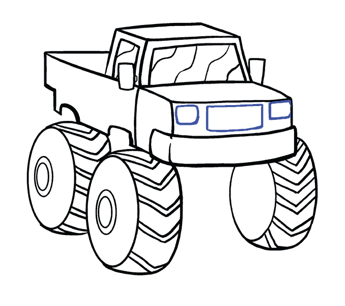 Silverado drawing monster truck. How to draw a