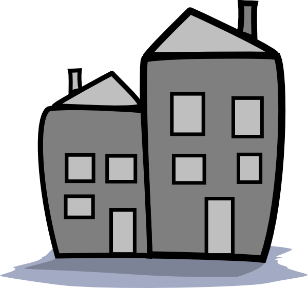 Apartment clipart. Greyscale clip art at