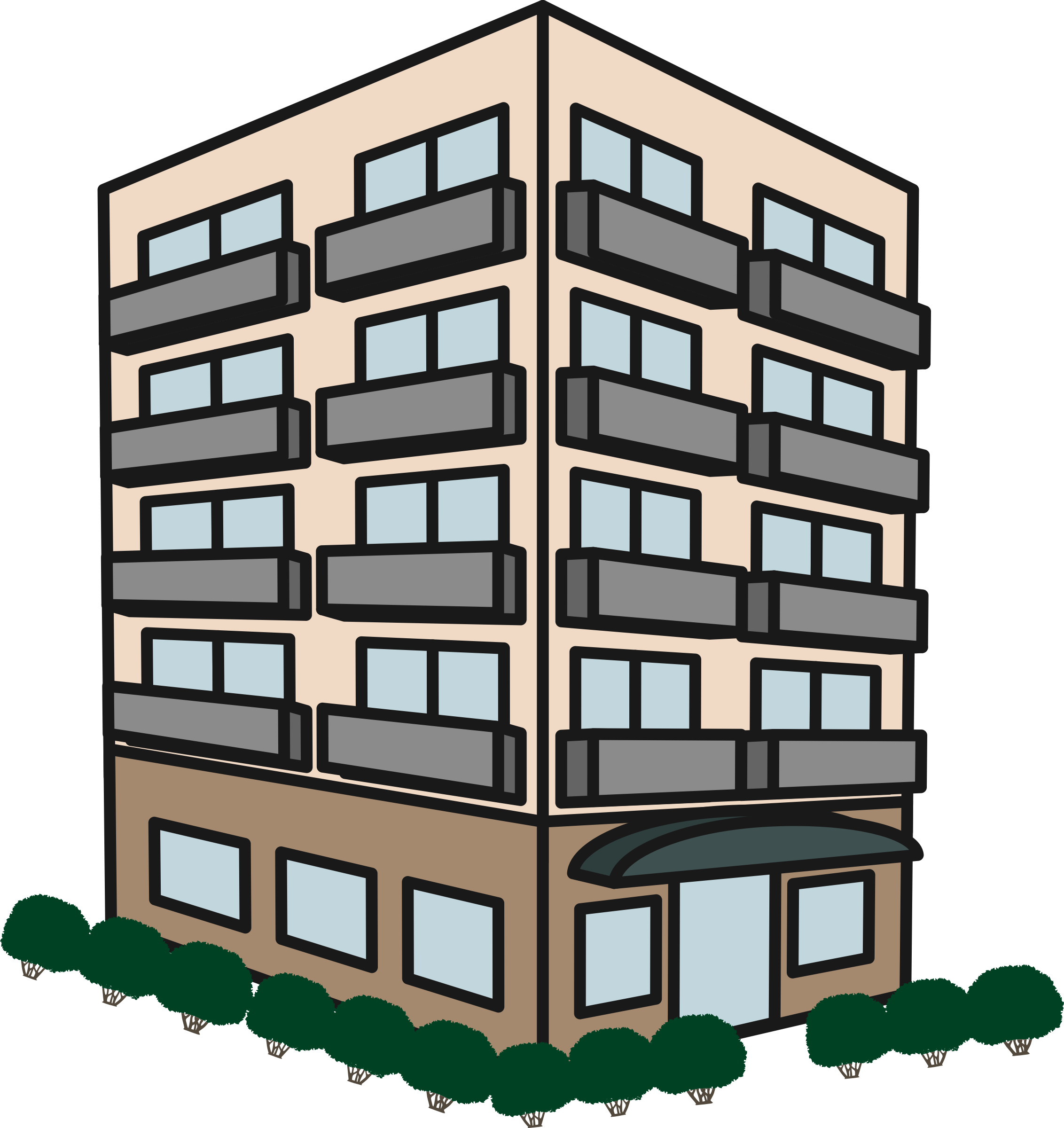 Clipart apartment big image. Building .png graphic transparent library