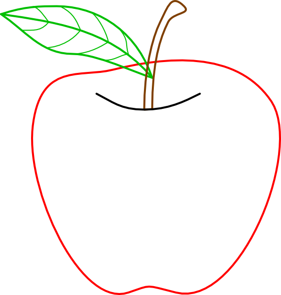 Apple outline png. Colored clip art at