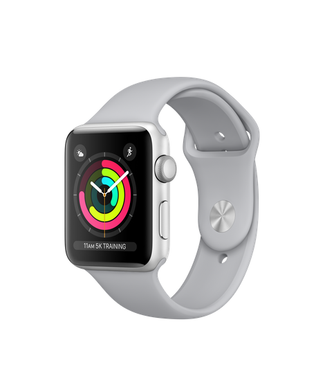 Apple watch png. Silver aluminum case with