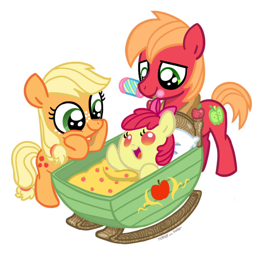 Applejack transparent baby. Young big mac and