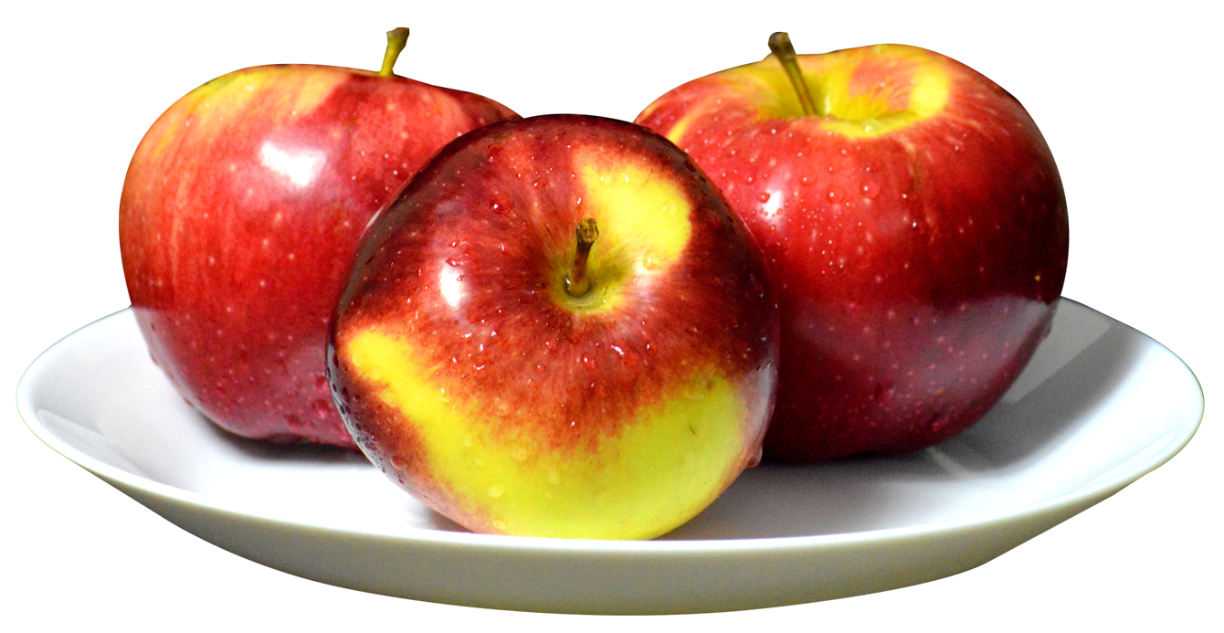 Apples photography png. On plate image purepng