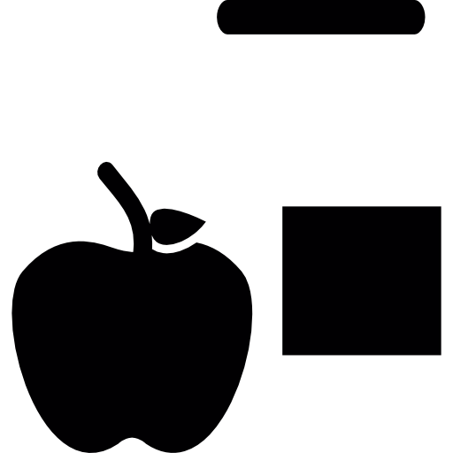 Apples vector icon. Apple and square icons