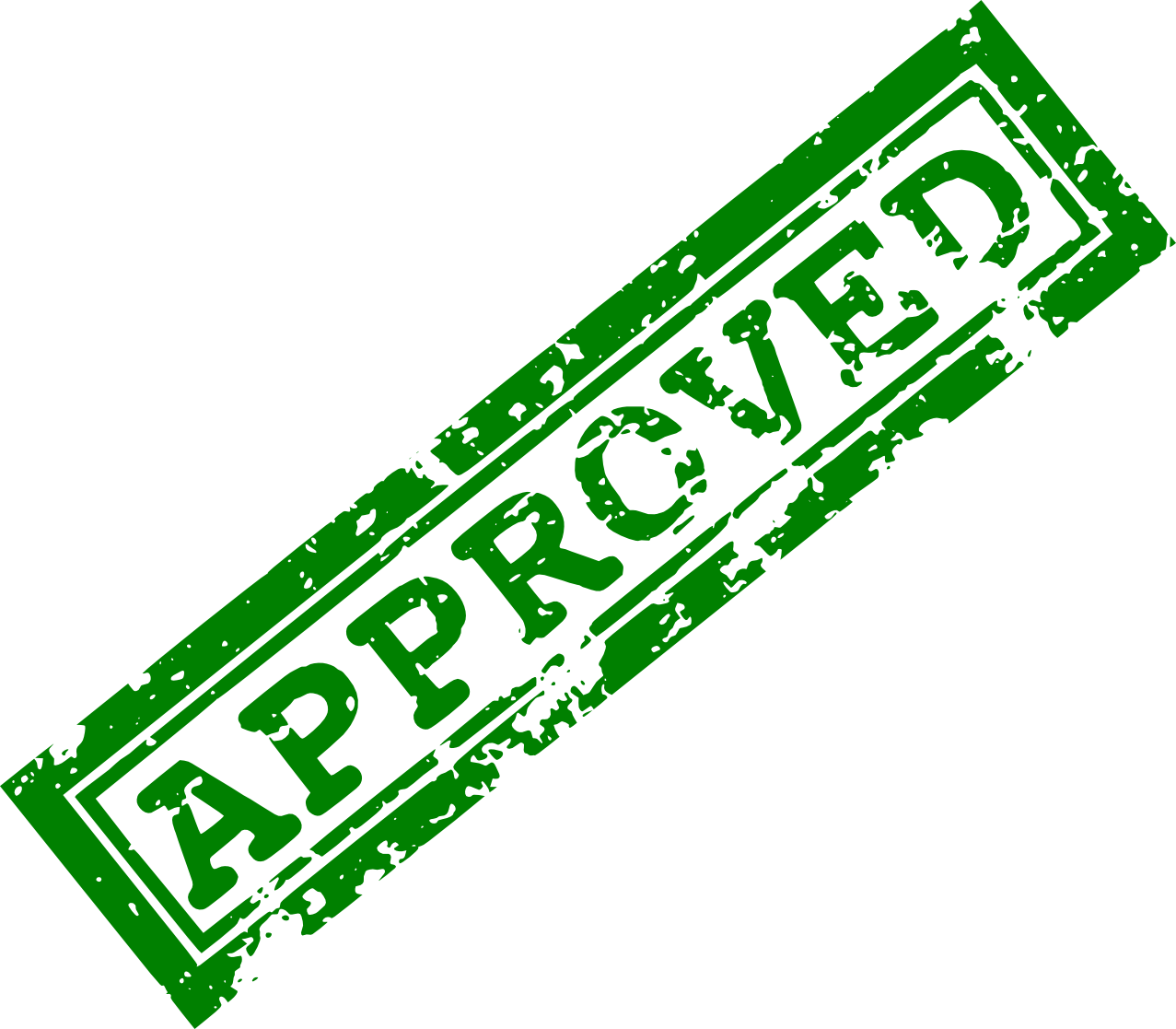 Approved stamp png. Red green transparent