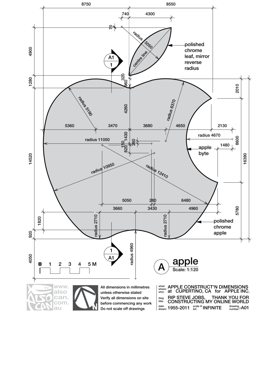 Arcade drawing blueprint. Apple logo explanation graphic