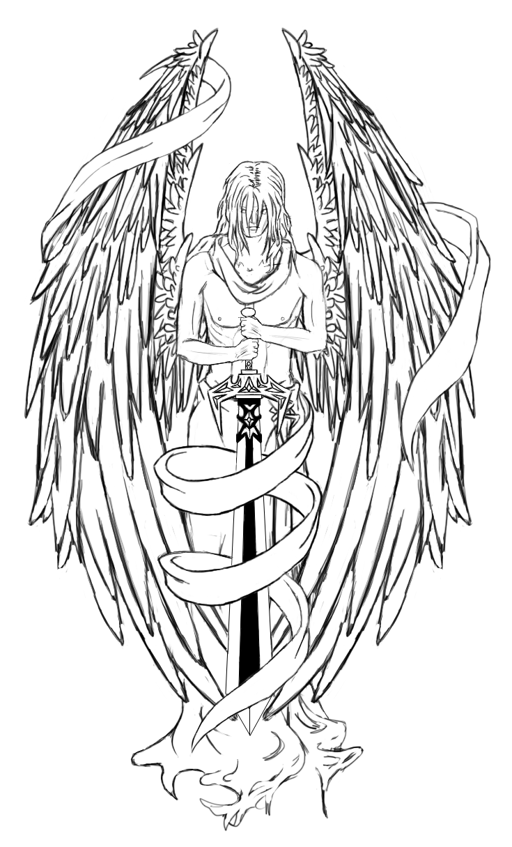 Archangel vector black angel. With sword tattoo designs