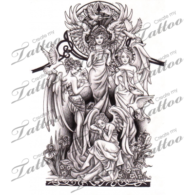 Marketplace drawing sketches. Tattoo angel half sleeve