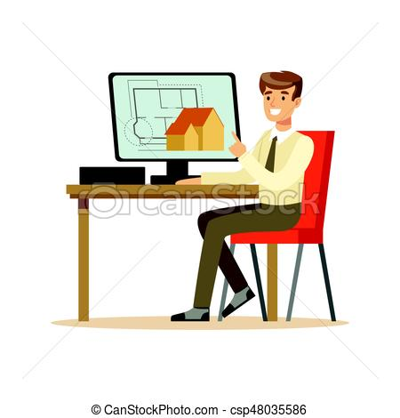 Young smiling working on. Architect clipart banner royalty free library