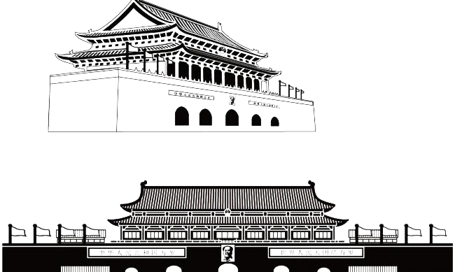 Tiananmen square architecture free. Architect vector silhouette png royalty free download