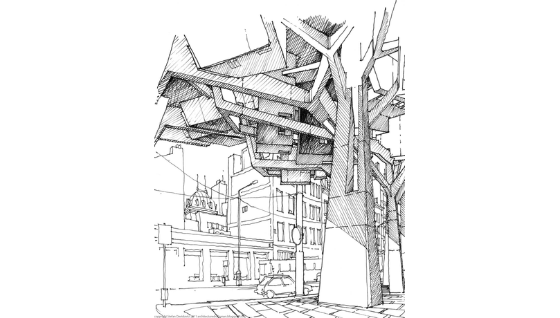 Fx and blueprint competition. Prespective drawing skyscraper graphic library library
