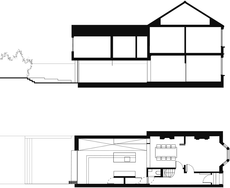 Architectual drawing modernist architecture. Modern side extension coffey