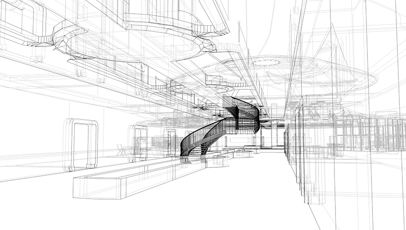 Architectual drawing monochromatic. The field of virtual