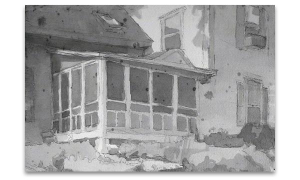 Architectual drawing monochromatic. Tim smith inkwashes inkwash