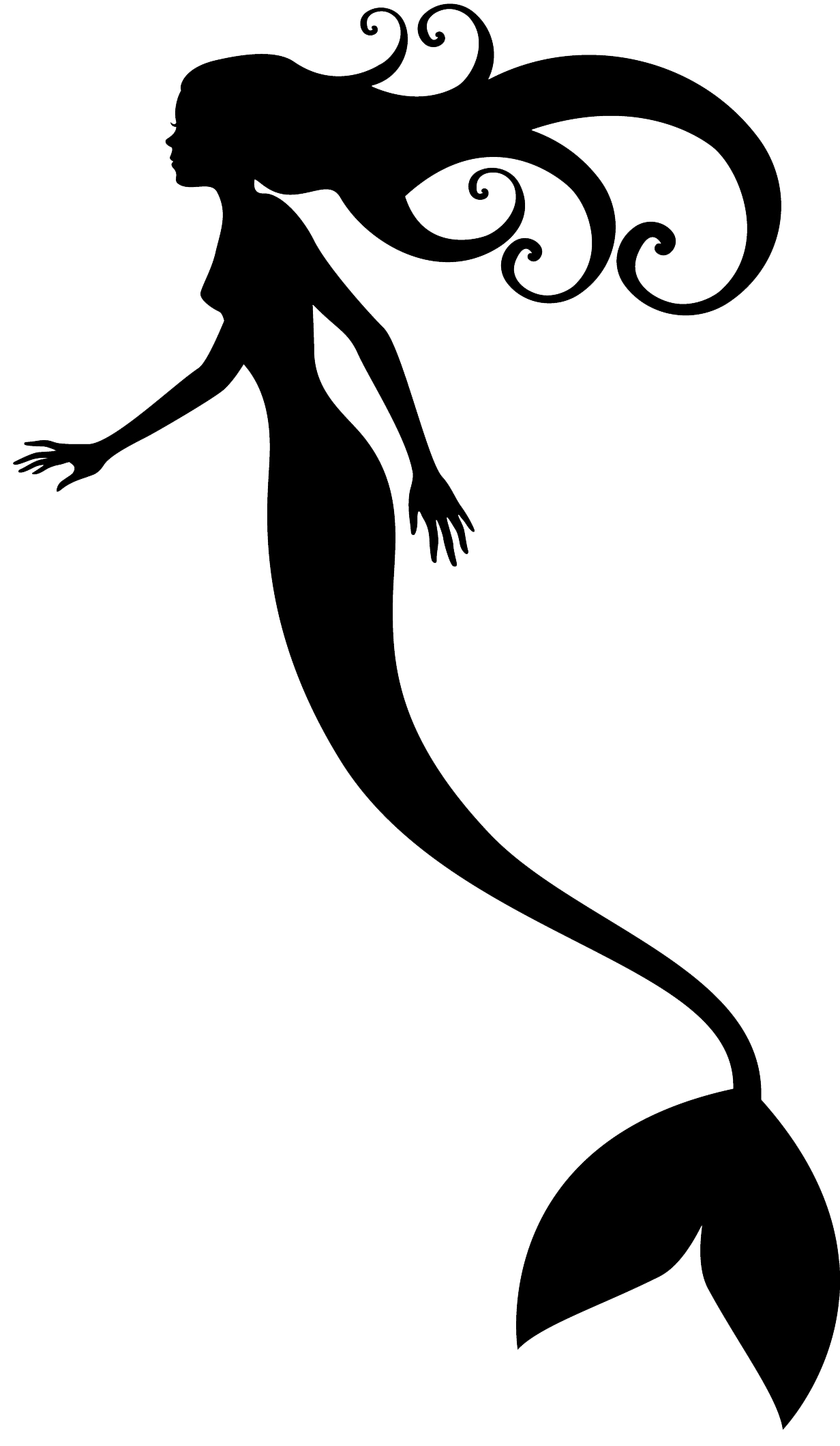 Ariel vector mermaid outline. Mermaids shadow puppet silhouette