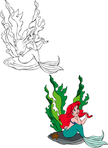 Ariel vector the little mermaid. Logo ai free download