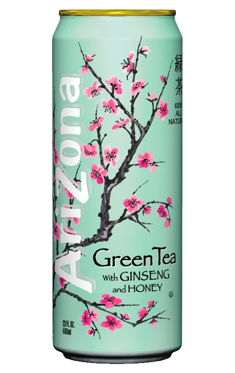 Arizona iced tea can png. Green with ginseng and