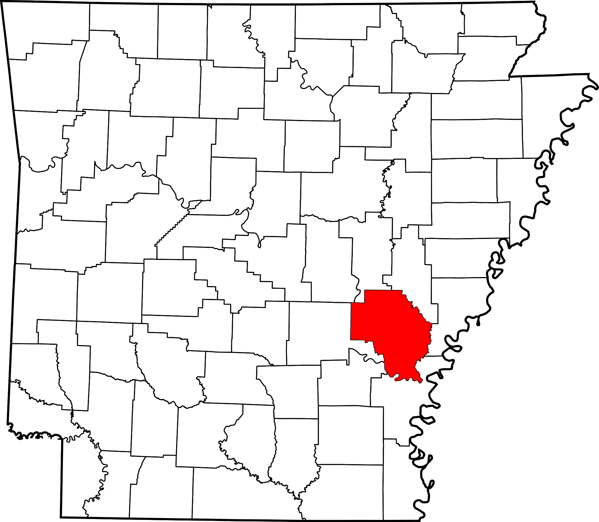 Arkansas svg map. File of highlighting county