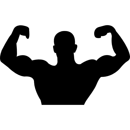 People muscles black icon. Muscle arms png banner library download