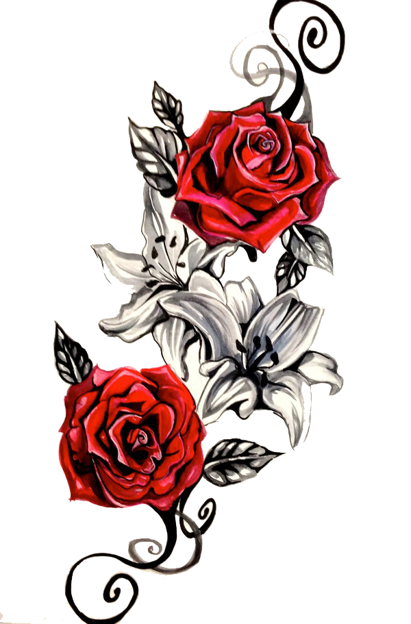 Spine tattoos png. Rose tattoo clipart timetome