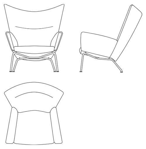 White wingpack. Wing chair by hans