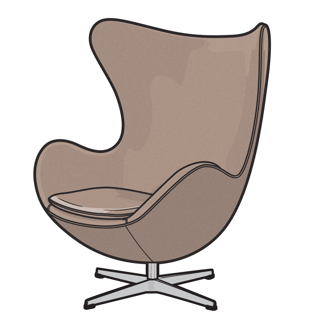Armchair drawing cartoon. Furniture illustration drawings of