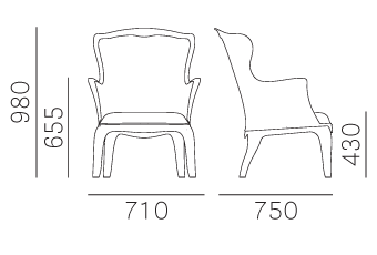 Armchair drawing detail. Chair pasha technical details