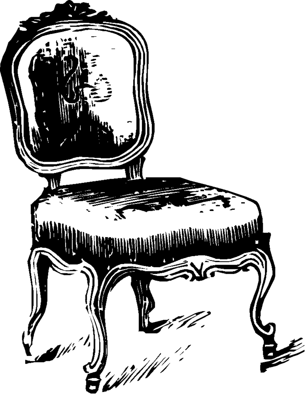 Armchair drawing fancy chair. Home decor vintage furniture
