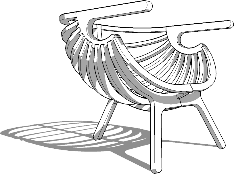 Armchair drawing realistic. Sketchup texture d model