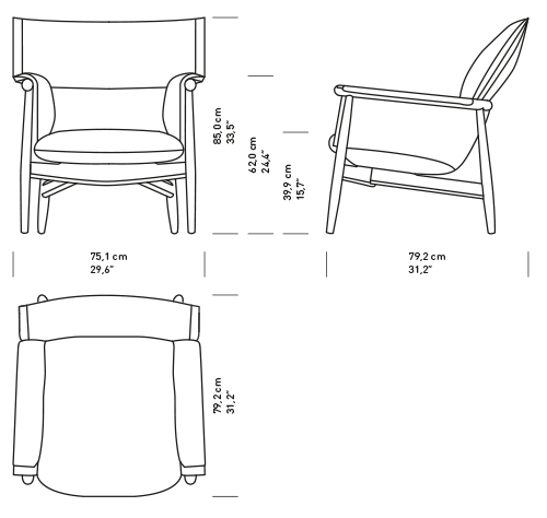 Armchair drawing lounge chair. Embrace by e s