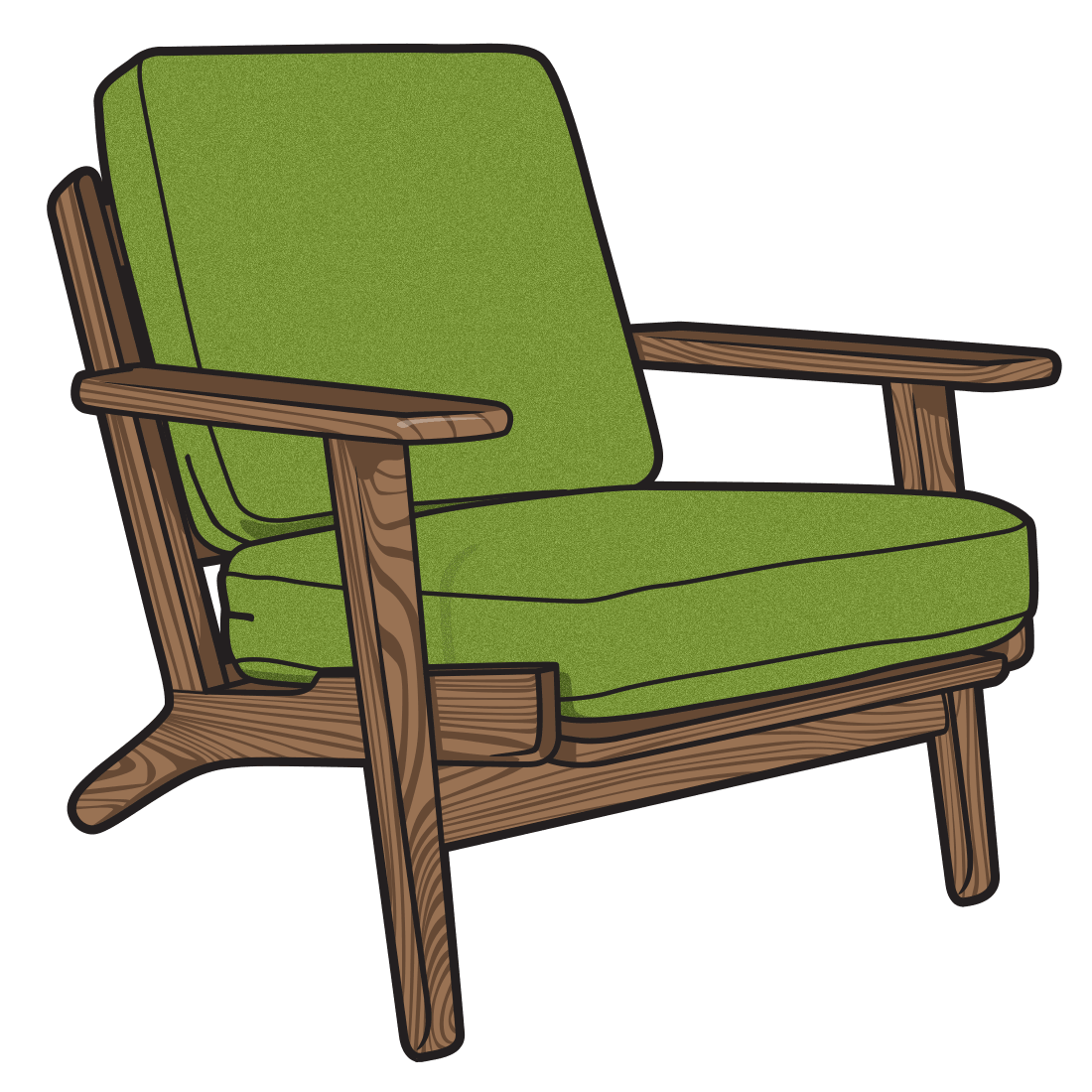 Armchair drawing sofa chair. Furniture illustration drawings of