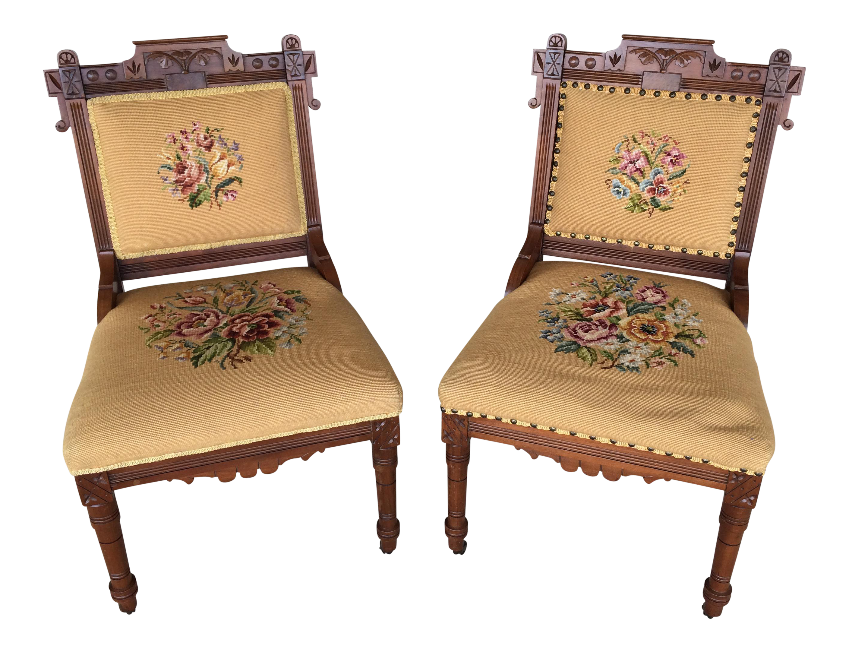 Armchair drawing victorian chair. Pair of eastlake needle
