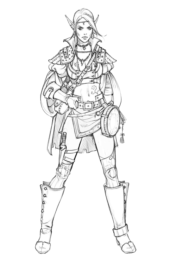 Armour drawing person. Character sketch beauty warrior