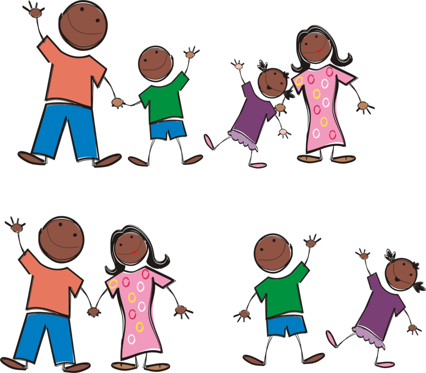 Drawing family cartoon. Stick figure download free