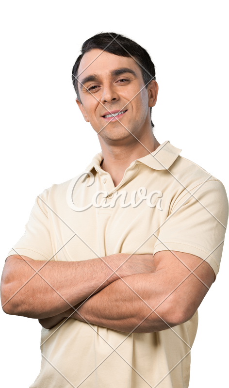 Arms folded png. Handsome man standing with