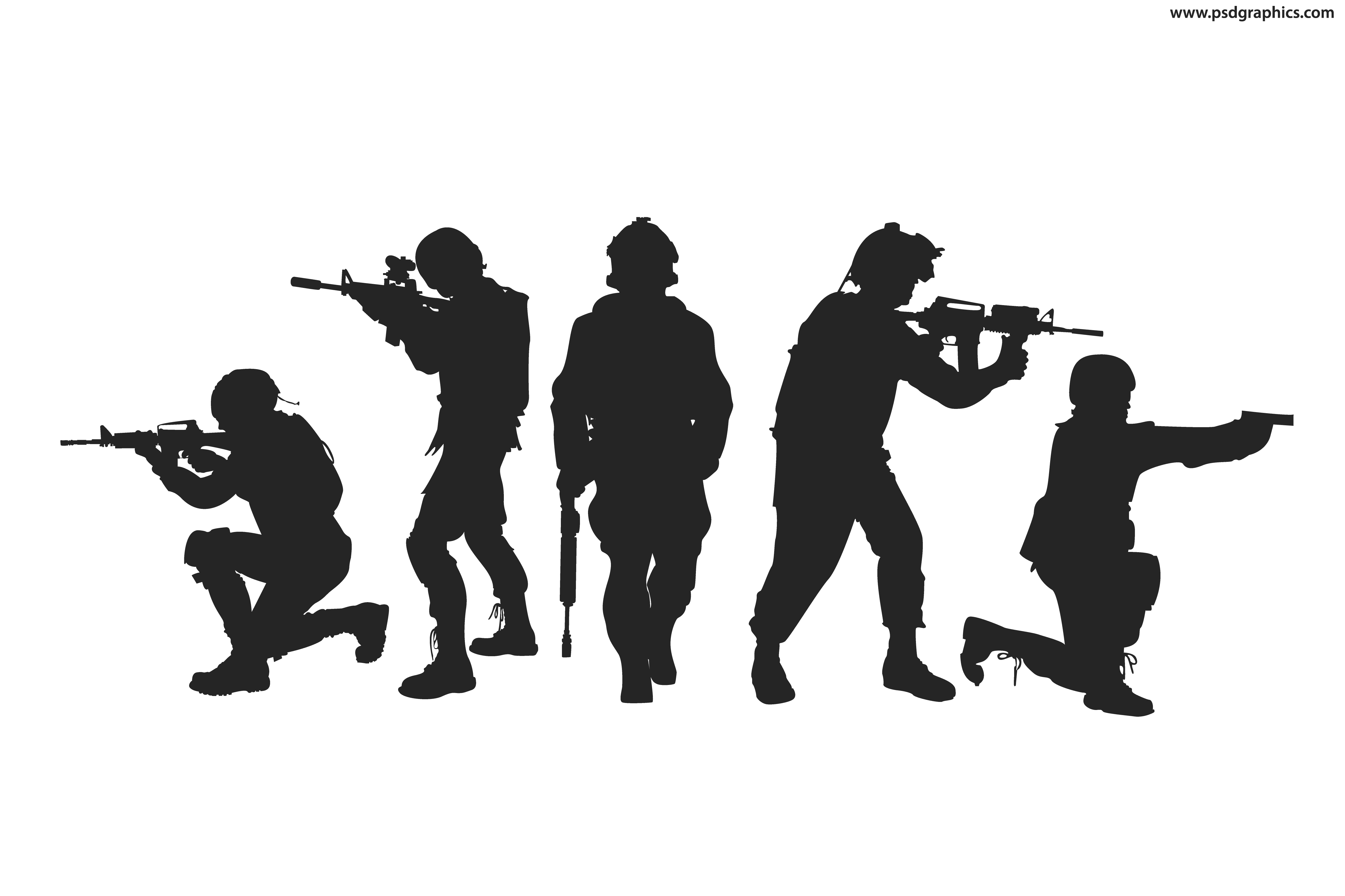 Silhouettes vector. Silhouette soldier military army
