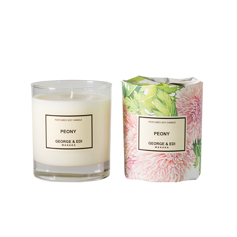 Transparent candles scented candle. Peony perfumed soy george