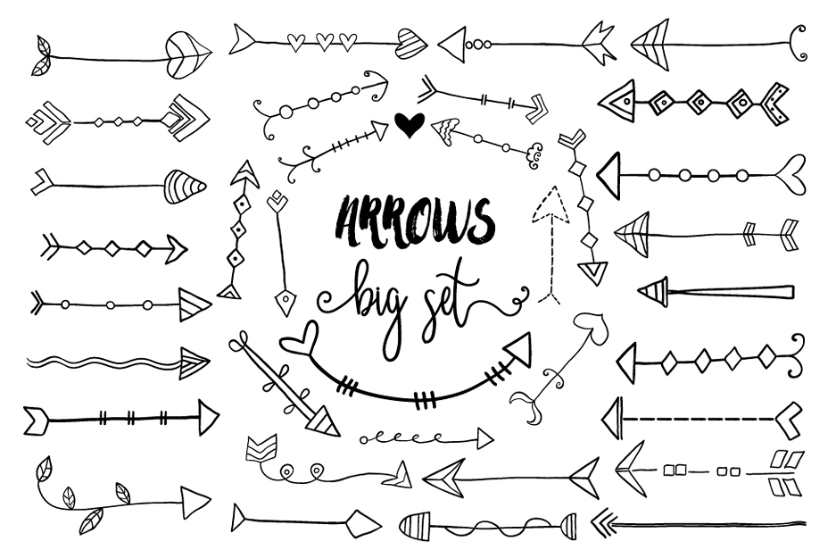 Arrow clipart cute. Black hand drawn doodle