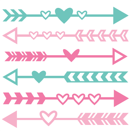 Art svg arrow design. Valentine set scrapbook cut