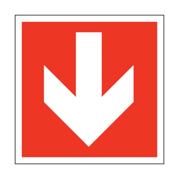 Arrow sticker png. Down safety label co