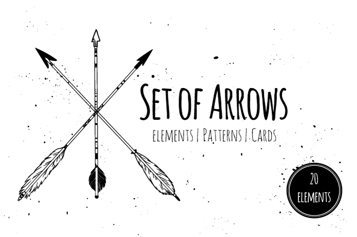 Arrows clipart. Set of hand drawn