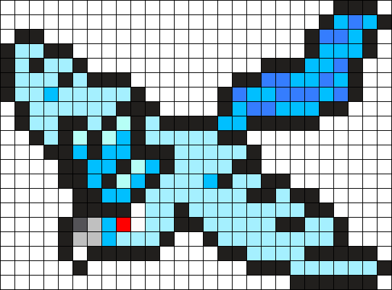 Articuno transparent 8 bit. Pokemon bead pattern perler