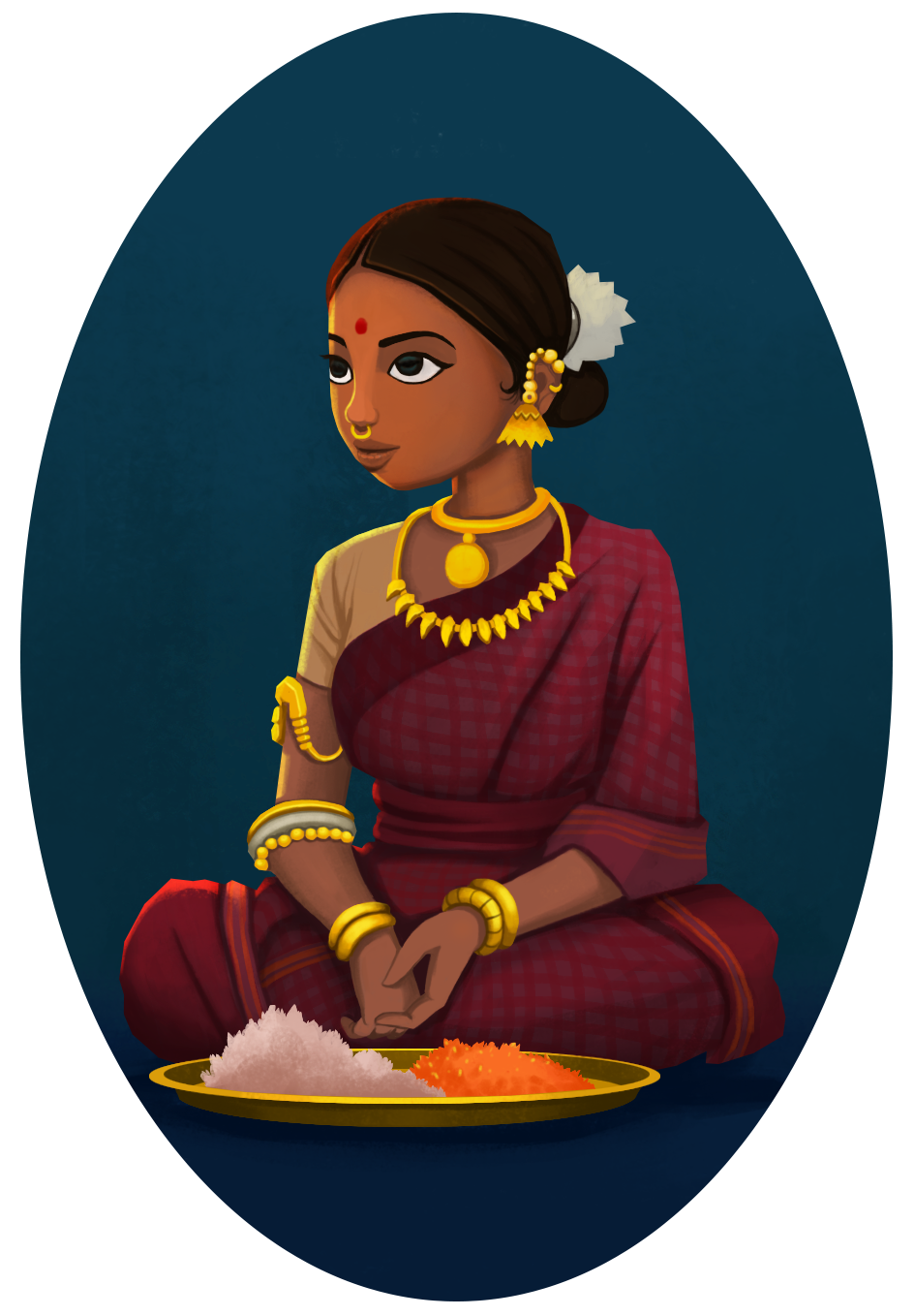 Drawing charactertures east. Indian girl selling flowers