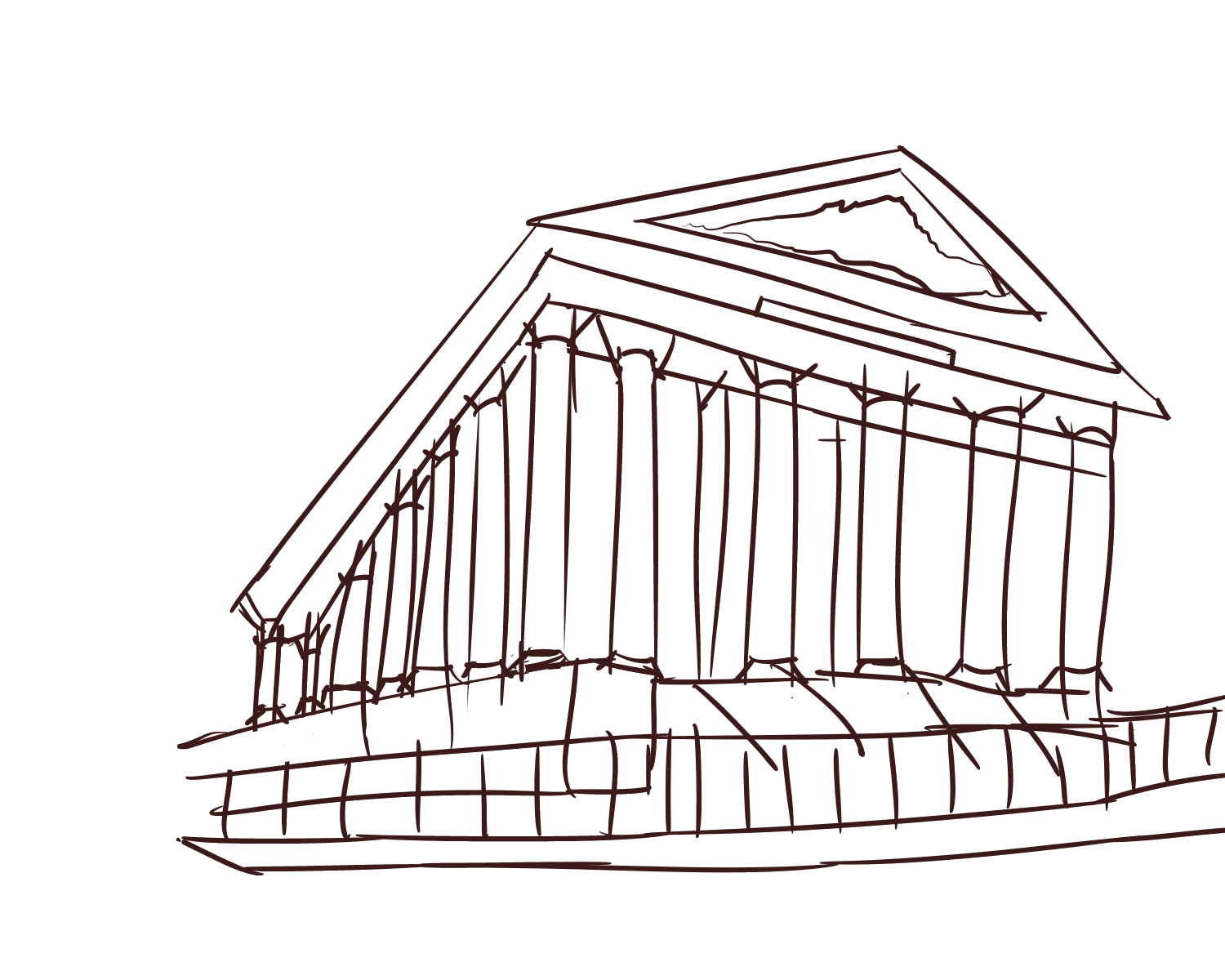 Pillars drawing architecture. July th neoclassical sketchdaily