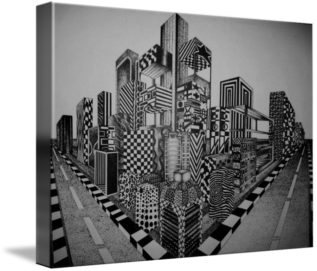 Point drawing city. Stipple in perspective pinterest
