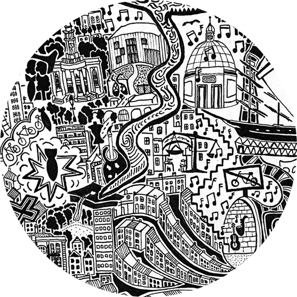 Drawing structures pen. Map of london hand