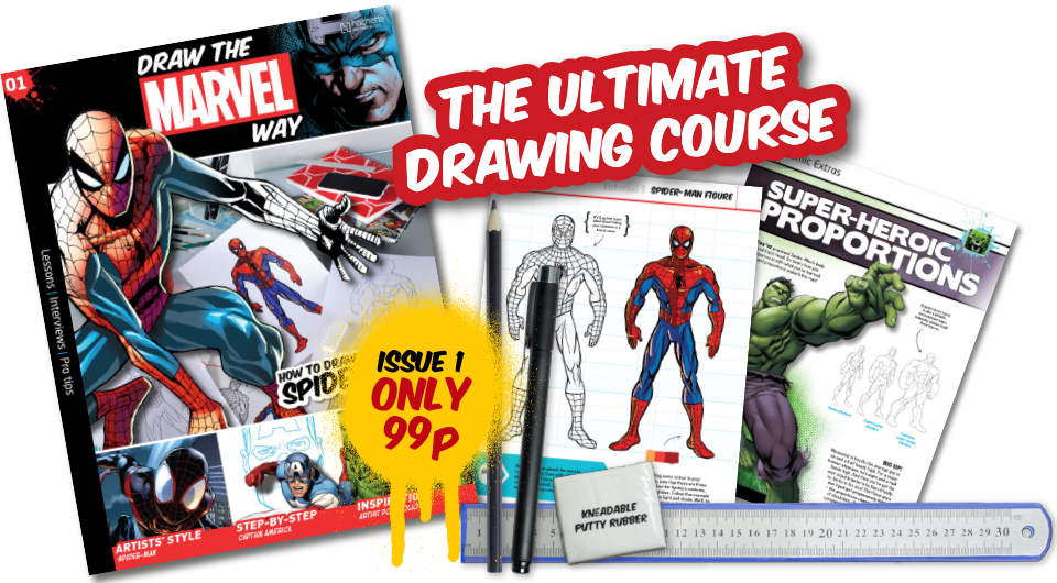 Drawing marvel pen. Draw the way